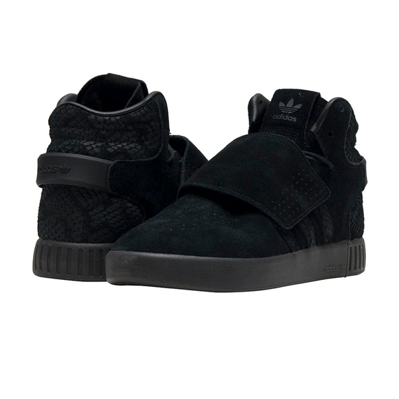 Adidas Tubular Invader Strap Black Suede Trainers Sneakers Size 4 High Top